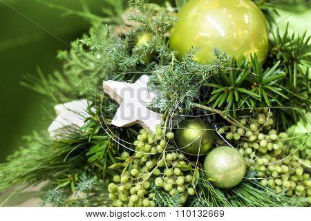 Fir Tree Bouquet Green Baubles
