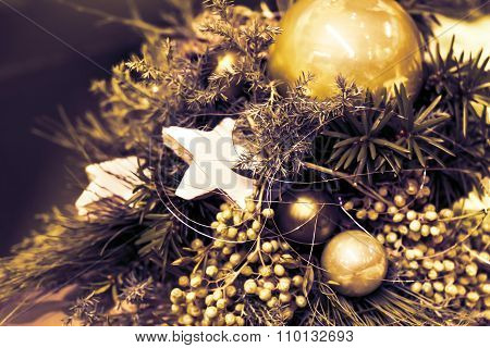 Fir Tree Bouquet Golden Overlay