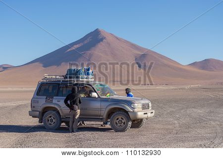 4X4 Vehicle Crossing The Andean Highlands, Bolivia