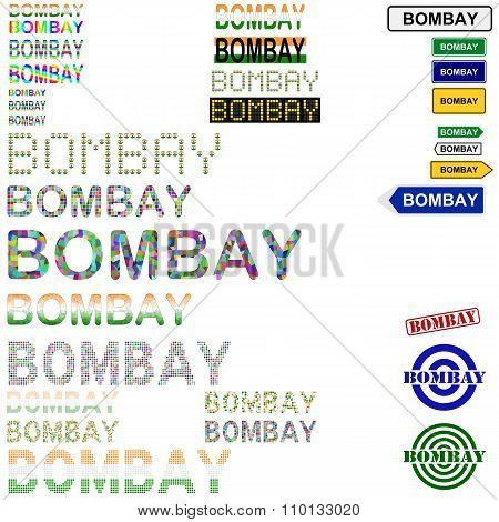 Bombay text design set