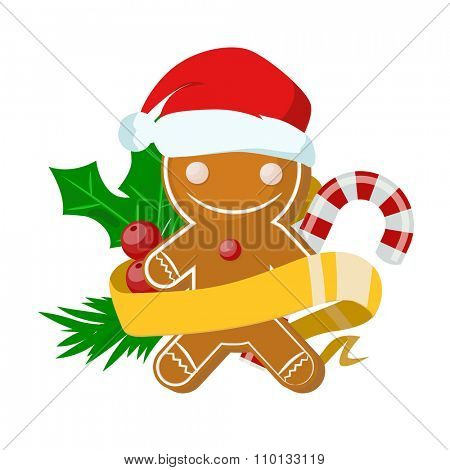 Christmas sweet cake boy in Santa red hat flat design vactor icon isolated. Christmas cake vector. New Year tree decoration cake man. Christmas tree cake man illustration. New Year cake man. Christmas