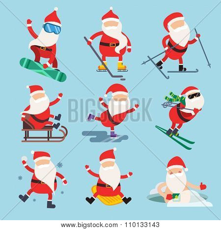Cartoon extreme Santa winter sport illustration. Santa Claus winter sport isolated on white. Winter sport collection. Santa healthy, Santa cloth, Santa red hat, Santa sledge. Santa Claus vector people