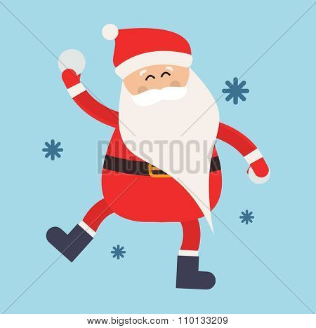 Cartoon Santa snowball game winter illustration. Santa Claus winter sport snow balls. Winter active games. Santa healthy, Santa game, Santa red hat, Santa snowballs. Santa Claus playing snowball
