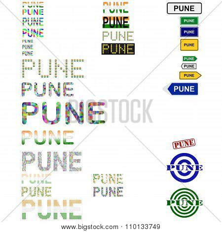 Pune text design set