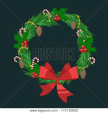 Christmas tree wreath flat vector isolated on dark. Christmas tree wreath vector. New Year wreath isolated. Christmas wreath vector illustration. New Year wreath silhouette. Christmas decoration