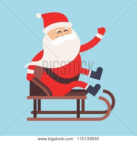 Cartoon Santa Claus driver sled delivery illustration. Santa Claus drive sled isolated. Santa sack vector, Santa cloth, Santa red hat, Santa sledge. Santa Claus vector cartoon active sport