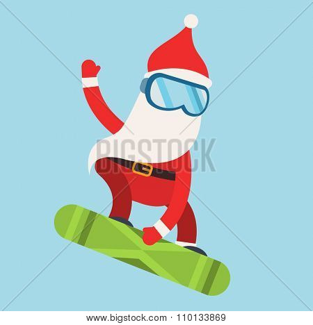Cartoon extreme Santa snowboarder winter sport illustration. Santa Claus winter sport snowboarder jumping. Winter sport snow board. Santa healthy, Santa active, Santa red hat, Santa snowboard. Santa