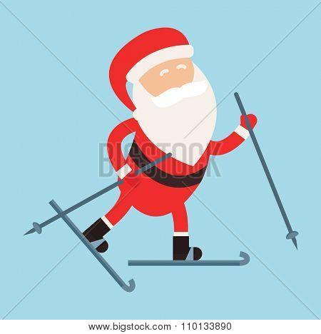 Cartoon Santa winter sport illustration. Santa Claus ski run isolated illustration. Winter sport games. Santa healthy, Santa cloth, Santa red hat, Santa ski. Santa Claus vector sportsman
