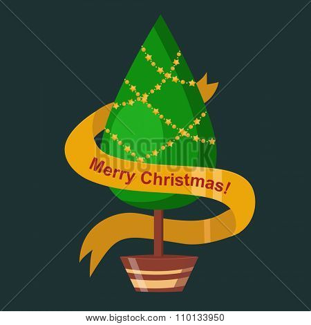 Christmas tree pot flat design vactor icon isolated on dark. Christmas tree vector. New Year tree isolated. Christmas tree vector illustration. New Year tree silhouette. Christmas decoration, balls