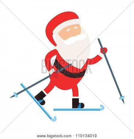 Cartoon Santa winter sport illustration. Santa Claus ski run competition illustration. Winter sport games. Santa healthy lifestyle, Santa cloth, Santa red hat, Santa ski. Santa Claus vector sportsman