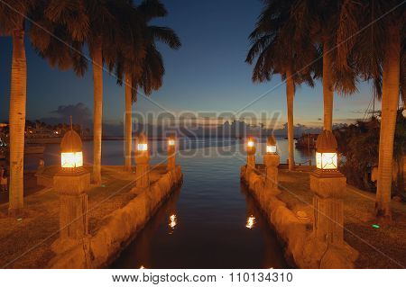 Aruba canal night view romantic site.