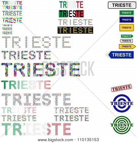 Trieste text design set