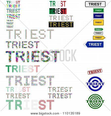 Triest text design set
