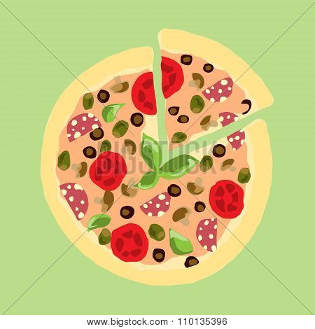 Illustration. Appetizing Pizza.