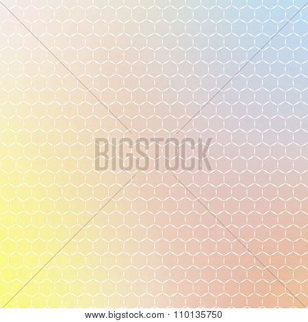 Ornament of geometric shapes placed on abstract creative concept multicolored blurred background. Ve