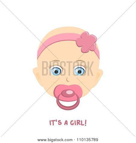 Cute baby girl portrait. Vector Illustration. Newborn with nipple.