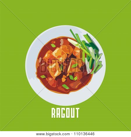 ragout with meat in a white plate