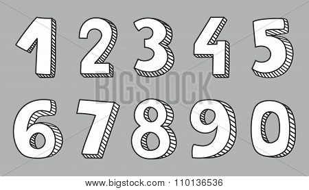 White vector numbers isolated on grey background