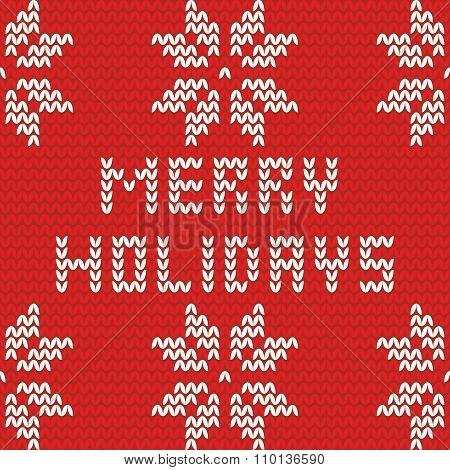 Merry Holidays vector knitting card