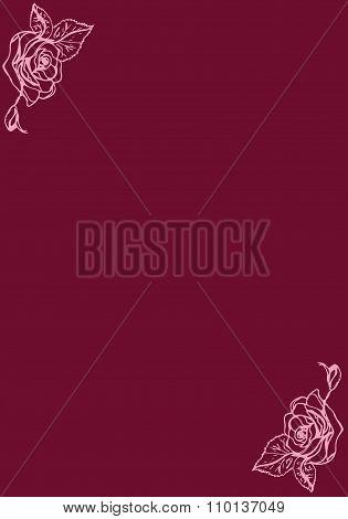 Illustration. Roses On A Burgundy Background. Card.