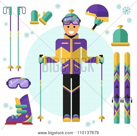 Skier with ski and equipment