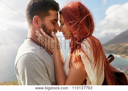 Young Loving Couple About To Kiss