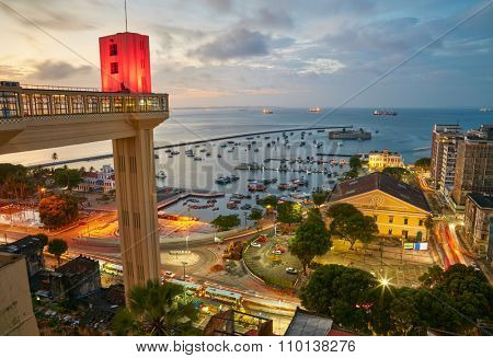 Sunset view of Salvador City in Bahia, Brazil