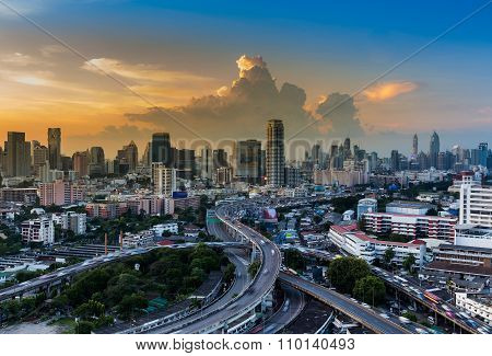 Beautiful skyline of cityscape with highway interchange