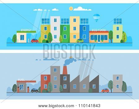 Two horizontal banners. Modern clean city. Environmental pollution. Factory polluting the city. Ecosystem. The use of alternative energy sources