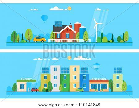 Two horizontal banners. Detached house on a background of nature. Modern city. Ecosystem. The use of alternative energy sources
