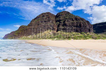 Empty Sand And Cliffs Polihale Beach