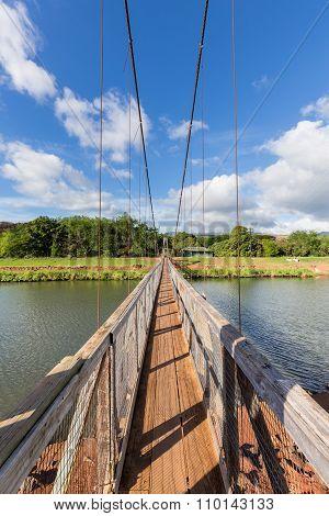 View Down The Famous Swinging Bridge In Hanapepe Kauai