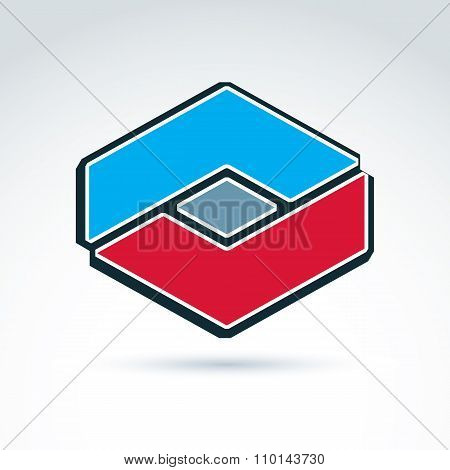 Complex Geometric Corporate Element Created From Separate Parts. Vector Abstract Emblem, Hexagon, Di