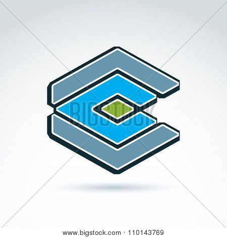 Complex Geometric Element Created From Separate Parts. Vector Abstract Emblem, Green Diamond. Corpor
