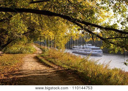 Autumn Forest On The Riverbank