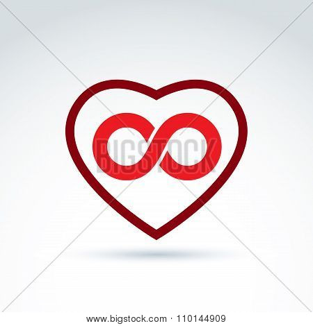 Vector Infinity Icon, Eternal Life Idea.  Illustration Of An Eternity Symbol Placed On Red Heart