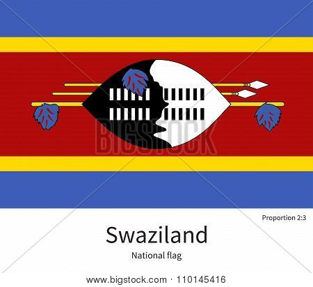 National flag of Swaziland with correct proportions, element, colors