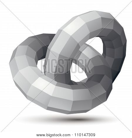 3D Vector Abstract Design Object, Polygonal Complicated Figure, Circles. Grayscale Three-dimensional