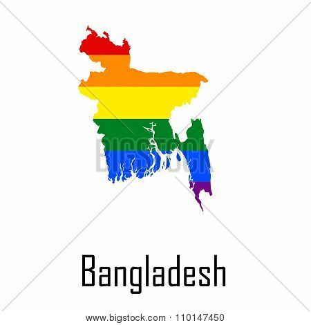 Vector Rainbow Map Of Bangladesh In Colors Of Lgbt - Lesbian, Gay, Bisexual, And Transgender - Pride
