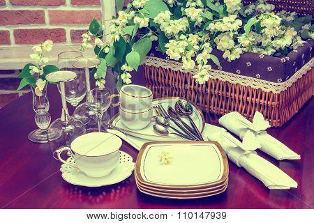 Tableware And Jasmine Flowers.vintage