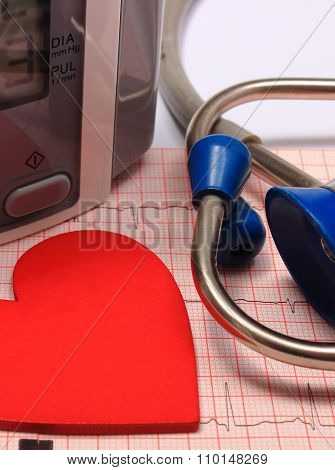 Stethoscope, Heart Shape, Blood Pressure Monitor On Electrocardiogram