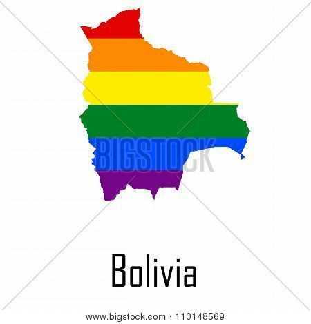 Vector Rainbow Map Of Bolivia In Colors Of Lgbt - Lesbian, Gay, Bisexual, And Transgender - Pride Fl