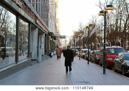 Urban View Of Helsinki Street