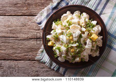 Salad Of Potatoes, Eggs, Green Onions And Mayonnaise. Horizontal Top View