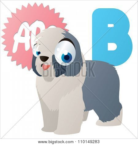 vector cute comic cartoon colorful animal alphabet collection: B  is for Bobtail