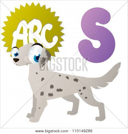 vector cute comic cartoon colorful animal alphabet collection: S is for Setter