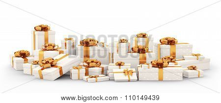 White Gift Boxes, Presents Isolated 3D Rendering