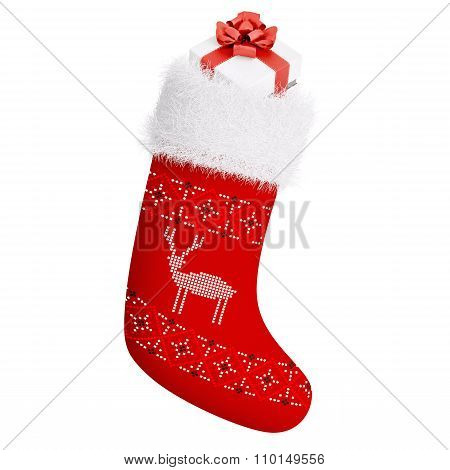 Red Christmas Stocking With Gift Isolated 3D Rendering