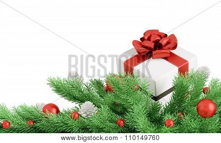 Christmas Decoration With Gift Isolated 3D Rendering