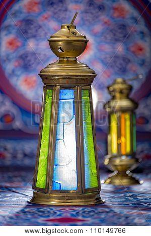Ramadan Lanterns Over Ramadan Fabric